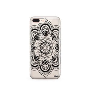 Black Henna Full Mandala - Clear TPU Case Cover - The Funding Ninjas