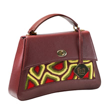 Load image into Gallery viewer, TATI BODUCH Designer Handbag, JASPER Collection, genuine leather: brown, knitwear: green