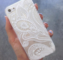Load image into Gallery viewer, White Floral Paisley - Clear TPU Case Cover