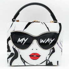 "Load image into Gallery viewer, Boutique De FGG ""Ladies with Glasses"" Acrylic Box Clutch Women Totes Handbag Fashion Party Hard Case Shoulder Bags Crossobdy Bag"