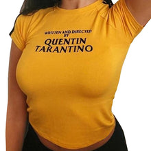 Load image into Gallery viewer, Written And Directed Quentin Tarantino Yellow T Shirt 90s Women Fashion Tees Goth Grunge Tops Camisetas Tumblr Art Slogan Shirt