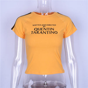 Written And Directed By Quentin Tarantino Short T-shirt Women Yellow Sexy Crop Tops Tumblr Stripe Long Sleeve Cotton Tee Print