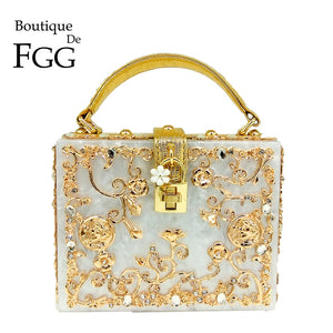 Boutique De FGG Women Fashion Flower Shoulder Bags Acrylic Box Clutch Tottes Purses and Handbags Luxury Designer Crossbody Bag