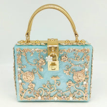 Load image into Gallery viewer, Boutique De FGG Women Fashion Flower Shoulder Bags Acrylic Box Clutch Tottes Purses and Handbags Luxury Designer Crossbody Bag