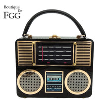Load image into Gallery viewer, Boutique De FGG Retro Radio Fashion Shoulder Bags Female Crossbody Bags for Women Designer Acrylic Box Totes Handbags and Purses