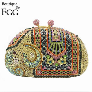 Boutique De FGG Multi Crystal Women Elephant Evening Purse Metal Minaudiere Handbag Bridal Clutch Wedding Party Diamond Bag