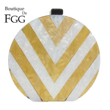 Load image into Gallery viewer, Boutique De FGG Round Women's Fashion Day Clutches Handbag Gold & White Striped Acrylic Box Evening Purse Chain Shoulder Bag