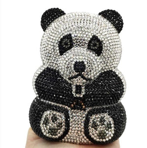 Boutique De FGG Panda Shape Women Crystal Evening Bags Metal Clutch Minaudiere Wedding Purses and Handbags Party Cocktail Bags
