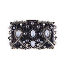 Load image into Gallery viewer, Boutique De FGG Vintage Bridal Pearl Beaded Purse Evening Party Wedding Crystal Clutch Bags Women Rhinestone Diamond Handbags