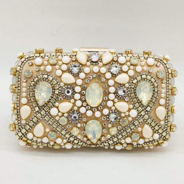 Boutique De FGG Vintage Bridal Pearl Beaded Purse Evening Party Wedding Crystal Clutch Bags Women Rhinestone Diamond Handbags