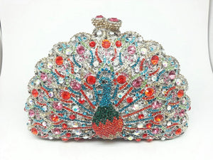 Boutique De FGG Green Crystal Women Peacock Clutch Evening Bag Party Minaudiere Handbag Wedding Clutches Bridal Diamond Purse