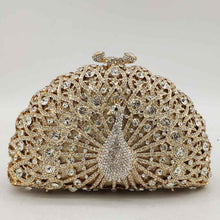 Load image into Gallery viewer, Boutique De FGG Green Crystal Women Peacock Clutch Evening Bag Party Minaudiere Handbag Wedding Clutches Bridal Diamond Purse