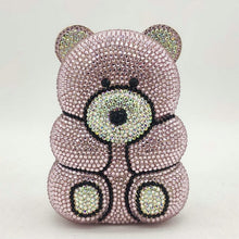 Load image into Gallery viewer, Boutique De FGG 3D Bear Teddy Shape Women Silver Pink Crystal AB Evening Clutch Handbags and Purses Diamond Wedding Party Bag