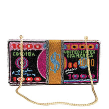 Load image into Gallery viewer, Boutique De FGG Stack of Cash Clutch Purse Funny Dollars Money Bag Women Crystal Evening Bags Cocktail Party Rhinestone Handbags