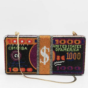 Boutique De FGG Stack of Cash Clutch Purse Funny Dollars Money Bag Women Crystal Evening Bags Cocktail Party Rhinestone Handbags