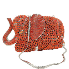 Load image into Gallery viewer, Boutique De FGG Orange Elephant Clutch Evening Bags and Clutches for Women Formal Dinner Crystal Clutch Purses Wedding Handbags