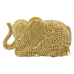 Boutique De FGG Orange Elephant Clutch Evening Bags and Clutches for Women Formal Dinner Crystal Clutch Purses Wedding Handbags