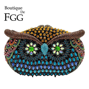 Boutique De FGG Multicolored Women Owl Clutch Evening Bags Cocktail Party Ladies Crystal Minaudiere Handbags Wedding Purses