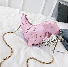 Load image into Gallery viewer, Boutique De FGG Dinosaur Design Rivets Pu Leather Girl's Chain Purse Shoulder Bag Tote Ladies Crossbody Mini Messenger Bag Flap