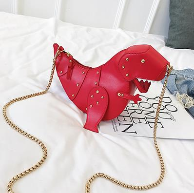 Boutique De FGG Dinosaur Design Rivets Pu Leather Girl's Chain Purse Shoulder Bag Tote Ladies Crossbody Mini Messenger Bag Flap