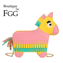 Load image into Gallery viewer, Boutique De FGG Novelty Horse Pony Shape Faux Leather Shoulder Bags Tassel Women Crossbody Bag Girls Messenger Handbags Purses