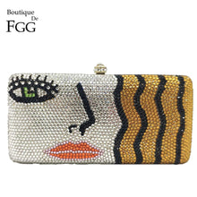 Load image into Gallery viewer, Boutique De FGG Blonde Girls Women Box Crystal Clutch Evening Bags Ladies Party Cocktail Formal Diamond Handbags and Purses