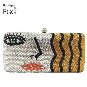 Boutique De FGG Blonde Girls Women Box Crystal Clutch Evening Bags Ladies Party Cocktail Formal Diamond Handbags and Purses