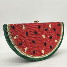Load image into Gallery viewer, Boutique De FGG Watermelon Slice Women Crystal Clutch Evening Minaudiere Bags Party Cocktail Lades Diamond Purses and Handbags