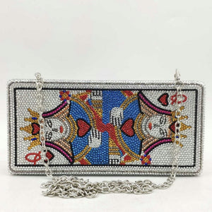 Boutique De FGG Novelty Poker Queen Women Formal Crystsal Evening Bags Rhinestones Box Clutch Party Cocktail Handbag and Purse