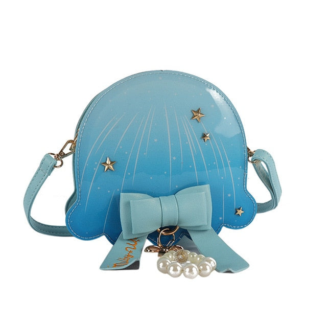 Boutique De FGG Novelty Funny Jellyfish Shape Women Crossbody Bags Messenger Bag PU Round Shoulder Handbags and Purses with Bow