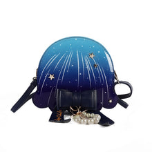 Load image into Gallery viewer, Boutique De FGG Novelty Funny Jellyfish Shape Women Crossbody Bags Messenger Bag PU Round Shoulder Handbags and Purses with Bow