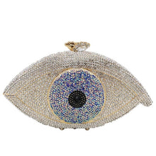 Load image into Gallery viewer, Boutique De FGG Fashion Evil Eye Women Crystal Clutch Evening Purses and Handbags Wedding Party Cocktail Minaudiere Bridal Bag
