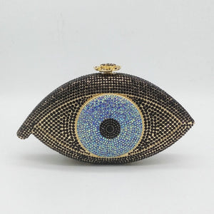 Boutique De FGG Fashion Evil Eye Women Crystal Clutch Evening Purses and Handbags Wedding Party Cocktail Minaudiere Bridal Bag