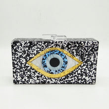 Load image into Gallery viewer, Boutique De FGG Evil Eye Glitter Women Black Acrylic Box Clutch Evening Handbags Party Shoulder Bag Cocktail Crossbody Bags