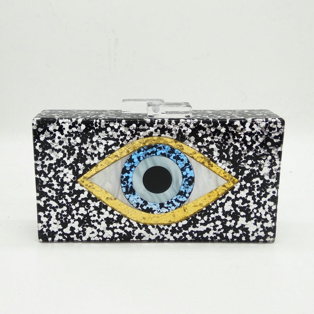Boutique De FGG Evil Eye Glitter Women Black Acrylic Box Clutch Evening Handbags Party Shoulder Bag Cocktail Crossbody Bags