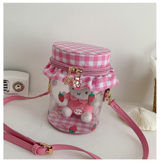 Boutique De FGG Cute Teddy Panda Bear Transparent Bucket Shoulder Handbags for Girls Small Causal Crossbody Bag