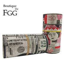 Load image into Gallery viewer, Boutique De FGG Hot-Fixed Stack of Cash Round Barrel Shape Women Crystal Money Clutch Purse Evening Bags Party Cocktail Handbag