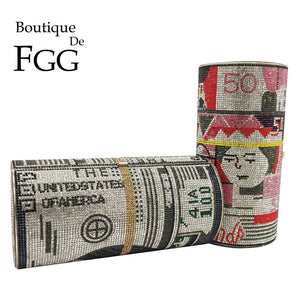 Boutique De FGG Hot-Fixed Stack of Cash Round Barrel Shape Women Crystal Money Clutch Purse Evening Bags Party Cocktail Handbag