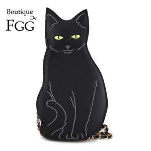 Boutique De FGG Black Cat Shape Women Crossbody Bags Faux Leather PU Shoulder Handbags and Purses Ladies Casual Dailly Bags