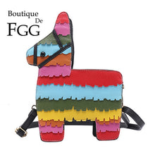 Load image into Gallery viewer, Boutique De FGG Novelty Colorful Horse Shape Crossbody Bags for Women Designer Saddle Handbags PU Rainbow Shoulder Bags