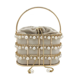 Boutique De FGG Pearl Beaded Evening Clutch Bag Women Luxury Designer Rhinestone Party Purse Ladies Diamond Shoulder Handbags