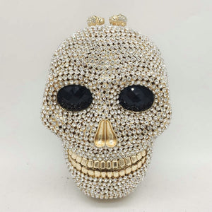 Boutique De FGG Halloween Novelty Funny Skull Clutch Women Silver Evening Bags Party Cocktail Crystal Purses and Handbags
