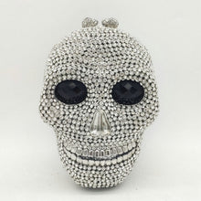 Load image into Gallery viewer, Boutique De FGG Halloween Novelty Funny Skull Clutch Women Silver Evening Bags Party Cocktail Crystal Purses and Handbags