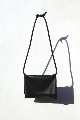 Crossbody shoulder bag black faux leather handmade by Melì