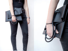 Shopper bag minimal black faux leather and rubber handmade by Melì