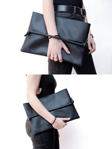 Clutch handbag pochette minimal black faux leather and rubber made by Melì