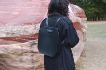 Minimal leather backpack bag handcrafted by Melì in Berlin