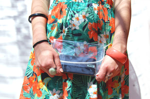 Clear transparent mini beach purse handmade by Melì