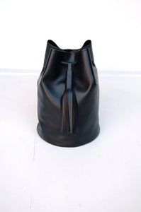 Backpack for women in black faux leather with big tassel made in Berlin