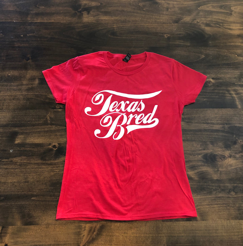 Womens Red Stacked Logo